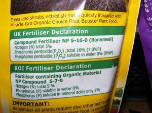 Primary nutrients in Miracle Gro: nitrogen, potassium, phosphorus